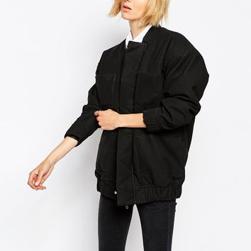 Waven Oversized Boxy Padded Bomber Jacket
