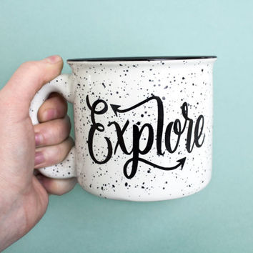 PRE-ORDER Explore Mug 15 oz Campfire Stoneware Speckled Mug Fathers Day Gift Hand lettered WildandFreeDesigns