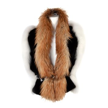 Lanvin Womens Triple Colored Fur Stole