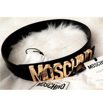 Moschino men's and women's tide brand fashion English letters high quality belt F Black