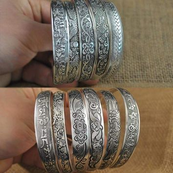 Vintage Style Silver Metal Cuff Bangles Bracelet