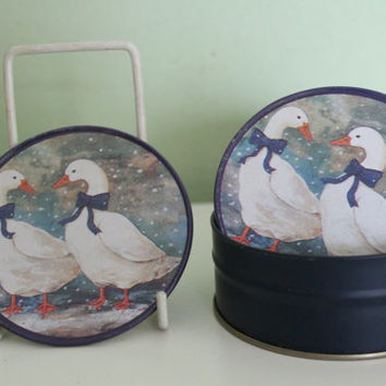 Vintage Winter Snow Goose Pattern Design Metal Coasters, Kitchen Decor, Table Decor, Drink Coasters, Cocktail Coasters, Shabby Chic