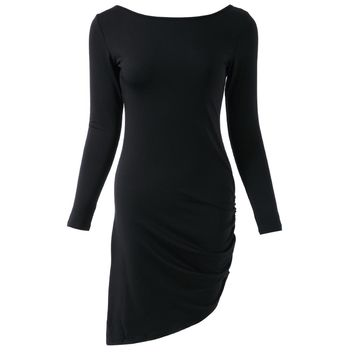 Simple Round Neck Long Sleeve Solid Color Bodycon Asymmetrical Women's Dress