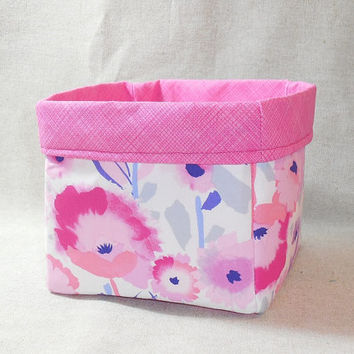 Pink and White Watercolor Flower Fabric Basket For Storage Or Gift Giving