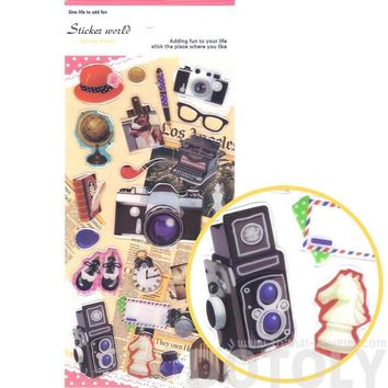 Pretty Vintage Cameras Letters Globe Typewriter Shaped Photography and Travel Themed Stickers
