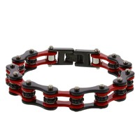 Red & Black Steel Link Bracelet