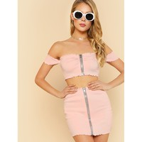 Double Zipper Front Tube Top PINK