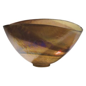 Golden Iridescent Oval Decorative Art Glass Bowl by Global Views
