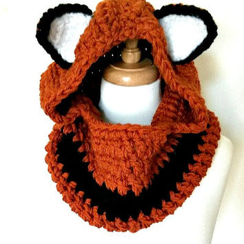 Crochet Hooded Fox Cowl Toddlers to Adult Sizes Hooded Cowl With Ears