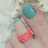 Beaded Toe Ring-Stackable-Orange and Pink-Free Shipping-Foot Accessories -Foot Jewelry -Toe Rings- Gifts Under 10-Get one Free