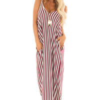 Burgundy and Cream Stripe Maxi Dress with Pockets