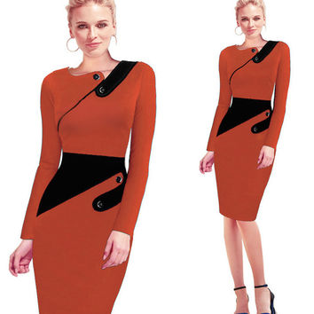 Womens Pencil Formal Office Knee Length Dress