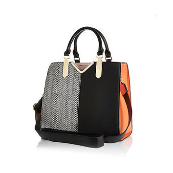 River Island Womens Black And Orange Split Front Tote Bag