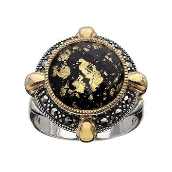 Lavish by TJM 14k Gold Over Silver & Sterling Silver Crystal & Onyx Doublet Frame Ring - Made with Swarovski Marcasite (Black)