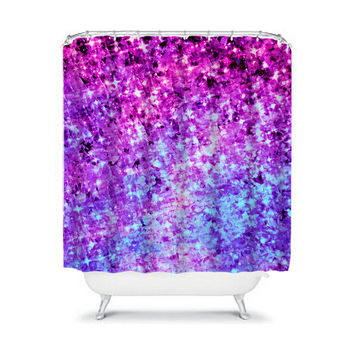RADIANT ORCHID GALAXY, Fine Art Painting Shower Curtain Washable Purple Blue Ombre Cosmic Home Decor Colorful Space Modern Style Bathroom