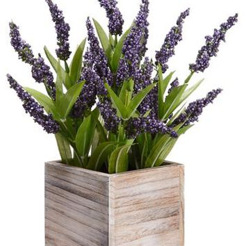 "Lavender Artificial Flower Bush in Wood Planter Pot - 14"" Tall"