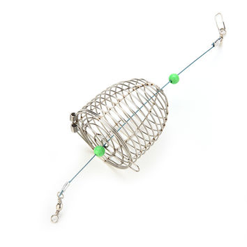 Stainless Steel Wire Fishing Lure Cage Fish Bait Lure Fishing Accessories Small Bait Cage Fishing Trap Basket Feeder Holder