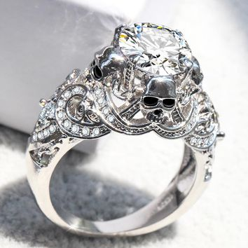 ERLUER Gothic Skull Luxury Style Engagement Wedding Classic Silver Color CZ Crystal Rings For Women Fashion Jewelry Gift Ring