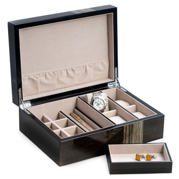 "Lacquered ""Ash"" Wood Valet Box with Multiple Compartments"
