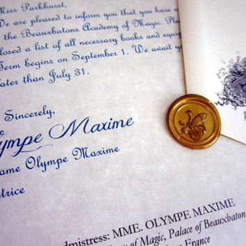 Beauxbatons Acceptance Letter Personalized