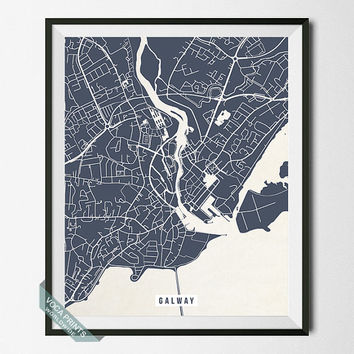 Galway Print, Ireland Map Poster, Galway Street Map, Ireland Print, Room Decor, Wall Art, Home Decor, Office Decor, Back To School