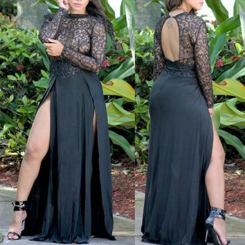 Black Patchwork Sequin Lace Hollow-out See-through Backless Side Slit Homecoming Maxi Dress