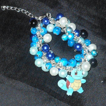 Pokemon Squirtle Loaded Beaded Silver Plated Charm Bracelet, Glass Beads