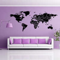 World map Wall decal Vinyl Wall Sticker Decals Home Decor Art office bedroom livingroom school nursery Cool wall Decals Stick on Wall Art