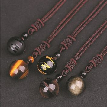 Natural Stone 16mm Black Obsidian Tiger Eye Stone Pendant Transfer Lucky Amulet Crystal Pendant Necklace