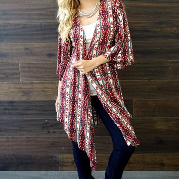 Red-Multi-Color-Printed-Long-Cardigan