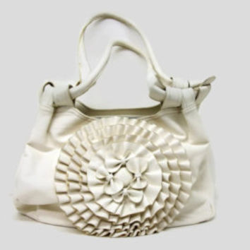 Vintage Off White Faux Leather Handbag Ruffled Design Large Big Roomy Shoulder Bag Purse Cream White Imitation Leather Vinyl Lots of Pockets