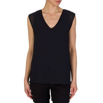 Michael Kors Navy Ribbed Neckline Sleeveless Blouse