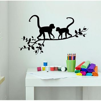 Vinyl Wall Decal Monkeys On A Branch Tree Nature Animals Jungle Tropical Style Stickers (4260ig)