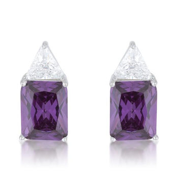 Classic Amethyst Cubic Zirconia Sterling Silver Stud Earrings