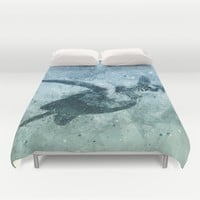 Geometric Flying Green Sea Turtle Duvet Cover by Nirvana.K | Society6