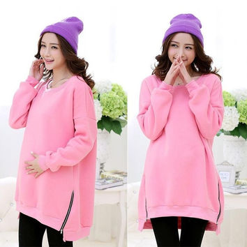 Long Sleeve Comfortable Maternity Casual Dresses Side Zipper Clothes for Pregnant Women Autumn and Winter Clothing For   Pregnancy = 1945870980