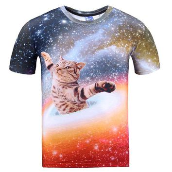 Kitty Cat Chilling in Space Universe Galaxy Print Graphic Print T-Shirt