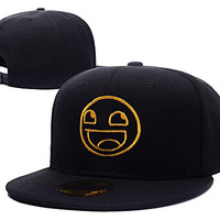 RHXING Awesome Smiley Face Meme Adjustable Embroidery Snapback Cap Hats