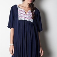 Umgee Navy Blue Woven Lace Peasant Dress