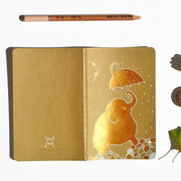 Elephant Moleskine painted cahier umbrella stocking stuffer