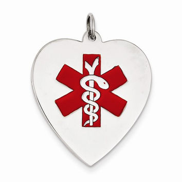 14k White Gold Heart Shaped Medical Alert Pendant