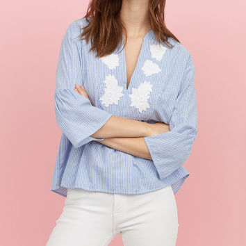 H&M V-neck Embroidered Blouse $34.99