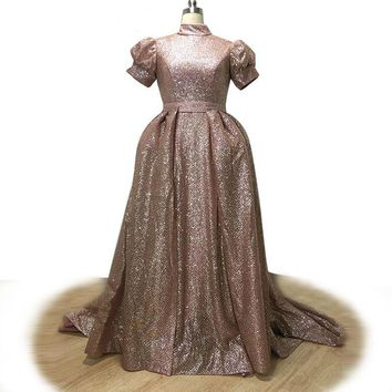Luxury Ross-Gold Floor-Length Evening Dress Sequined Detachable Train Puff Sleeve Prom Gown High Neck Party Dresses