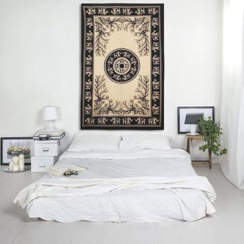 Elephant and Leo Print Mandala Boho Indian Tapestry Hippie Bohemian Bedspread Wall Hanging for Bedroom Living Room 80 X 60 inches Cotton Tapestry