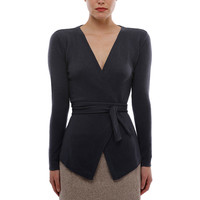 Cashmere Belted Open Cardi Grey