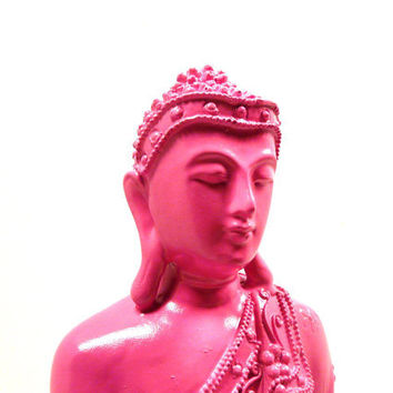 pink buddha statue, trendy, statues, thai, home decor, zen, painted decor, buddhist, pop art, spiritual, feng shui