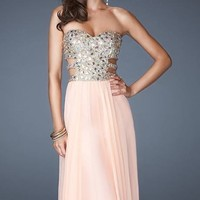 Strapless Sequined Evening Gown by La Femme