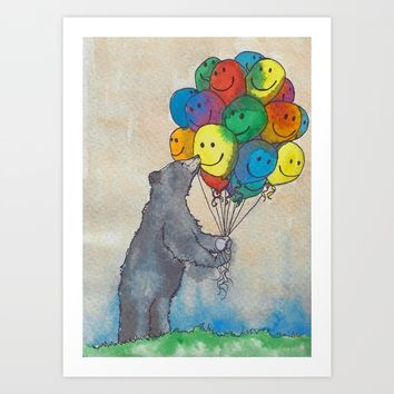 Birthday Bear Art Print by Buffy Kaufman Art