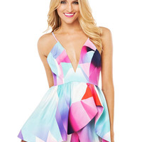 Asymmetric Playsuit In Multi Color Print
