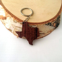 Texas shape Wooden Keychain, Walnut Wood, USA States,  Custom Engravable Keychain, Environmental Friendly Green materials